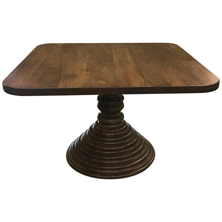 Dos Gallos Custom Walnut Square Top Pedestal Table Pedestal Table Pedestal Kitchen Table Square Kitchen Tables