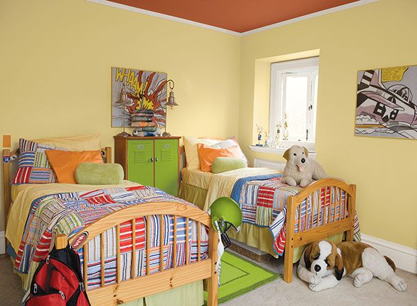 A Light And Bright Yellow Kids Bedroom