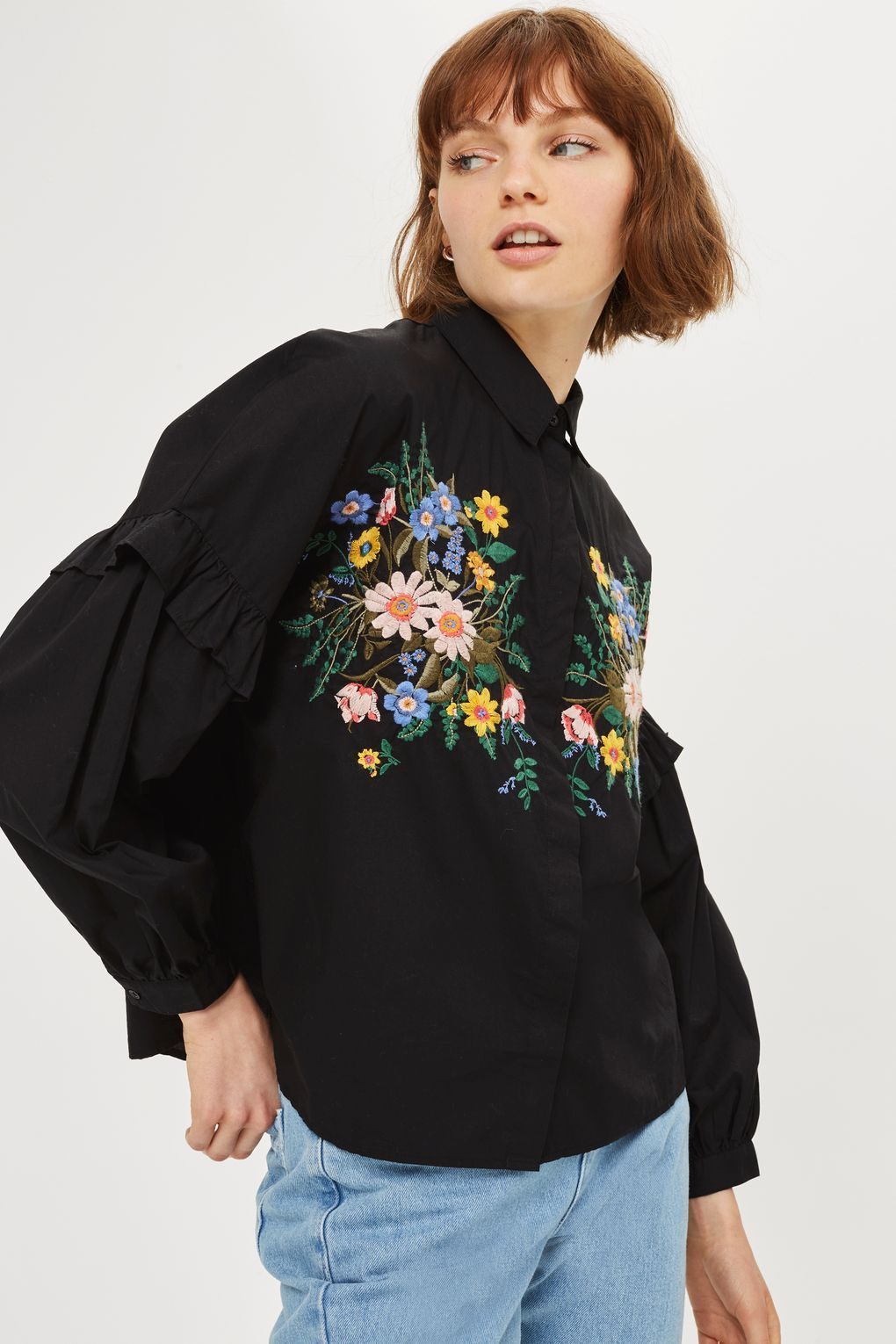 Forest Floral Embroidered Shirt