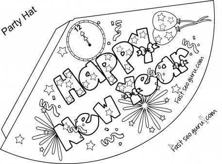 Print out happy new year party hat coloring for kids