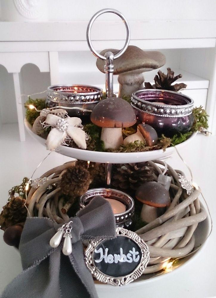 Deko Pilze Selber Machen , Herbstdeko Pilze Deko Vintage Neu Herbst Tischdeko Teelicht