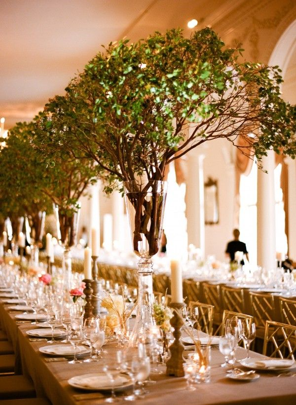 beautiful wedding decoration ideas not flowers but ginormous green branches beautiful 1613