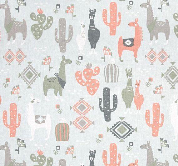 Llama Cactus Curtains Baby Curtains 2 Panels Of 50x84