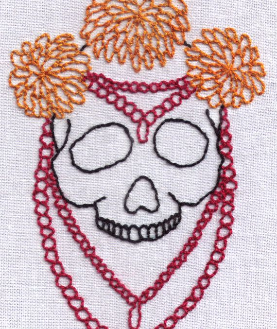 Skull With Flowers And Beads Hand Embroidery Pattern By Ravenfrog