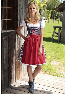 dirndl kurz mit gepunkteter sch rze marjo online kaufen. Black Bedroom Furniture Sets. Home Design Ideas