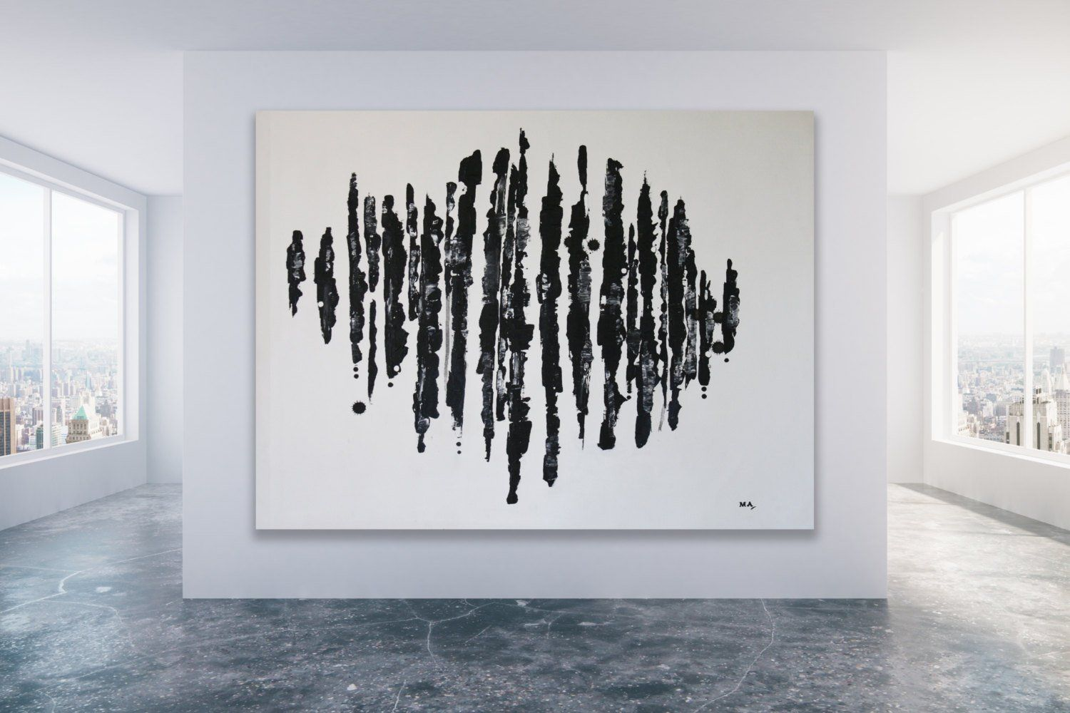 Welp Black and White Abstract Painting / Extra Large Painting / Black TX-52