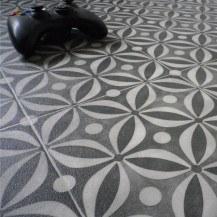 Cement Tile Design Cushioned Vinyl Flooring Sheet Onyx Black In