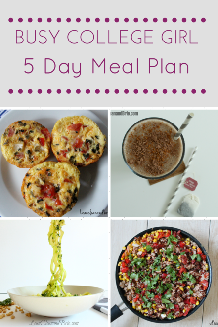 Busy College Girl 5 Day Meal Plan Influenceher Collective