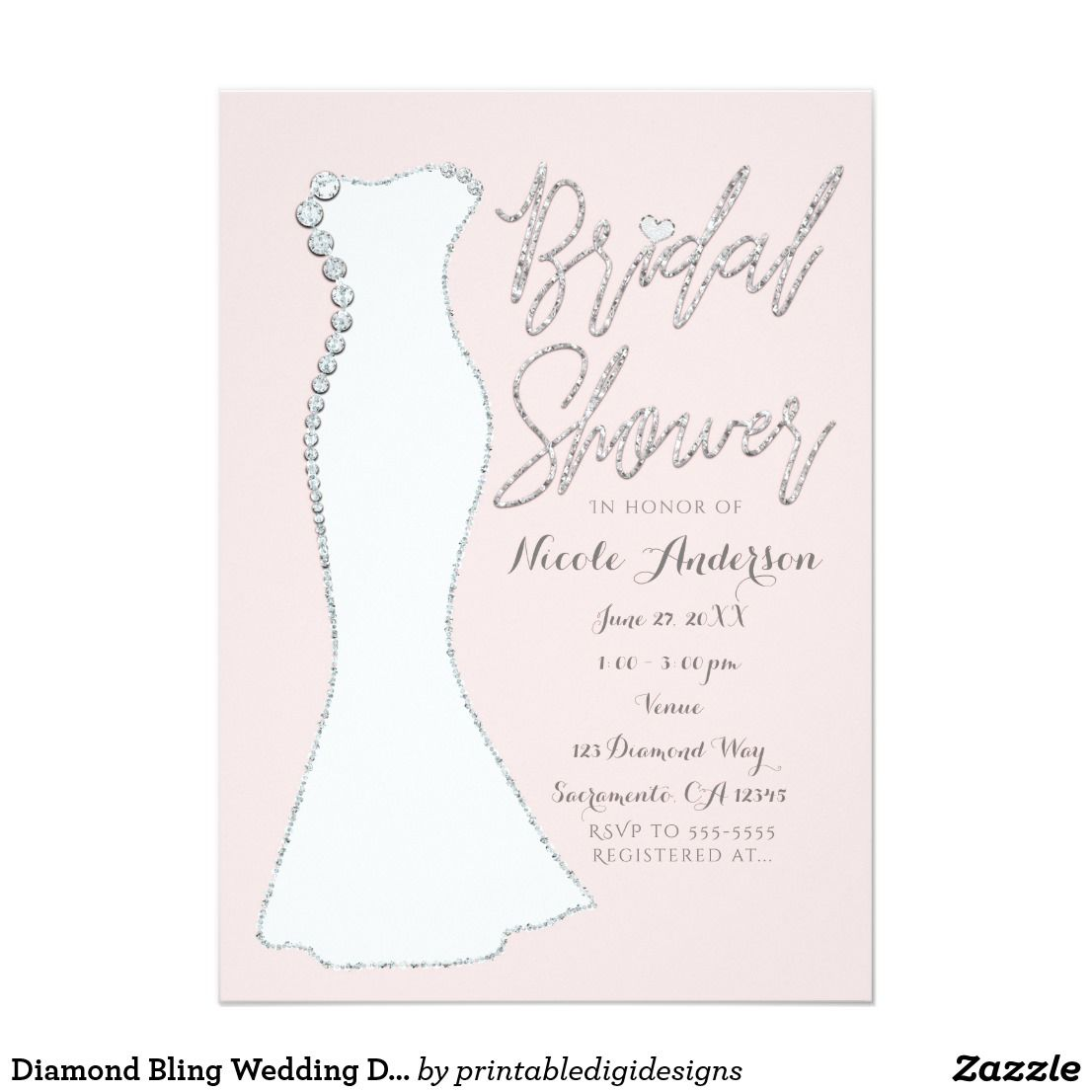 Diamond Bling Wedding Dress Pink Bridal Shower Card Bridal Shower