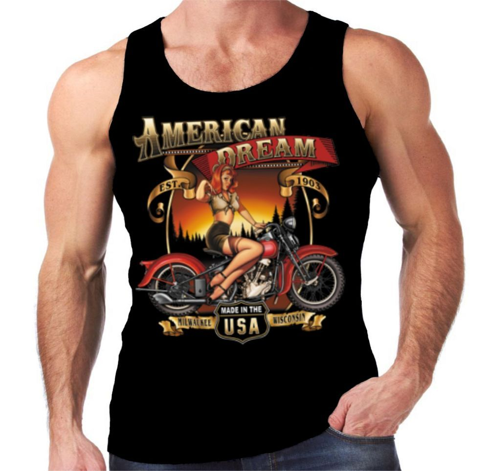 Velocitee Mens Vest American Dream Classic Harley Pin Up Biker Motorcycle W14999 #Velocitee