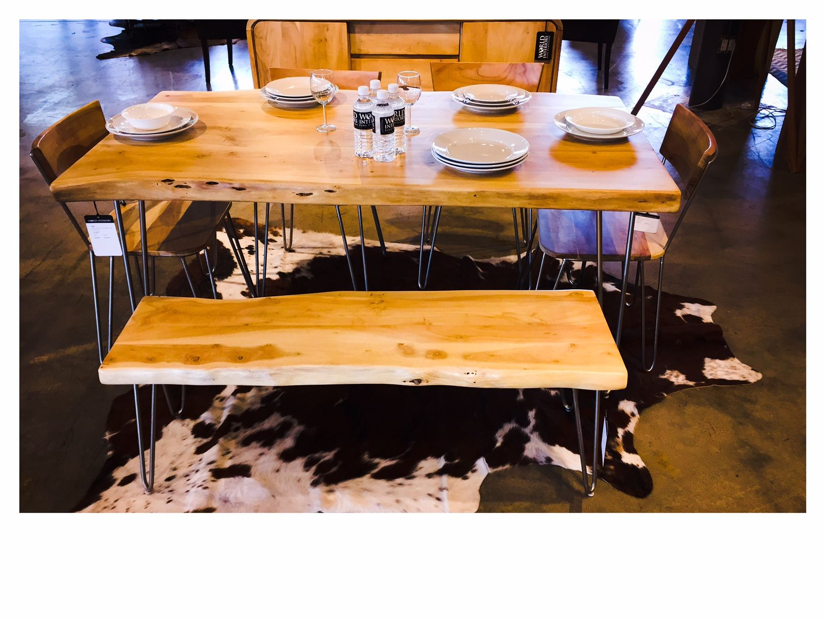 Our Vail Collection offers a live edge dining table with matching dining chairs and bench or