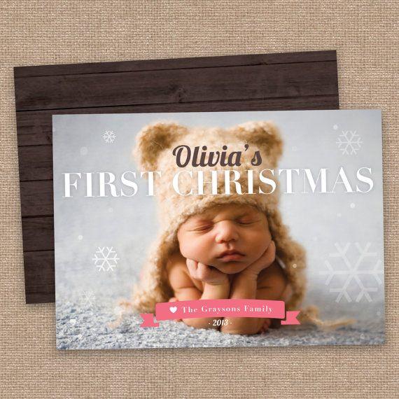 My First Christmas Girl Greeting Card, Newborn Custom Photo, Rustic, DIY Printable