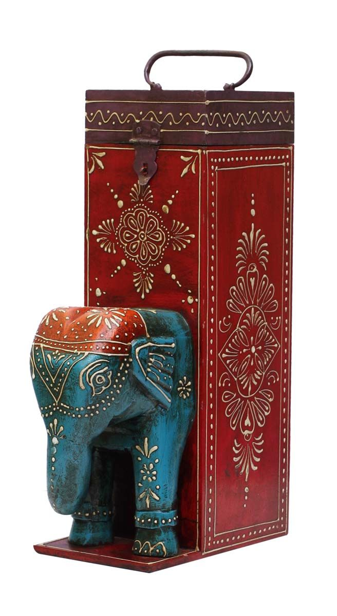 """Bulk Wholesale Handmade 13"""" Wine Bottle Holder / Box with Elephant Face in Blue and Colorful Bright Motifs in Cone-Panting Art – Ethnic-Look Bottle Holders from India"""