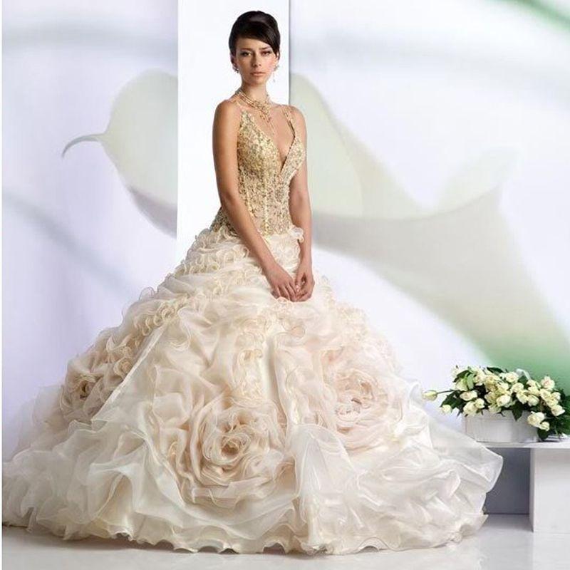 Spaghetti Organza Wedding Dress