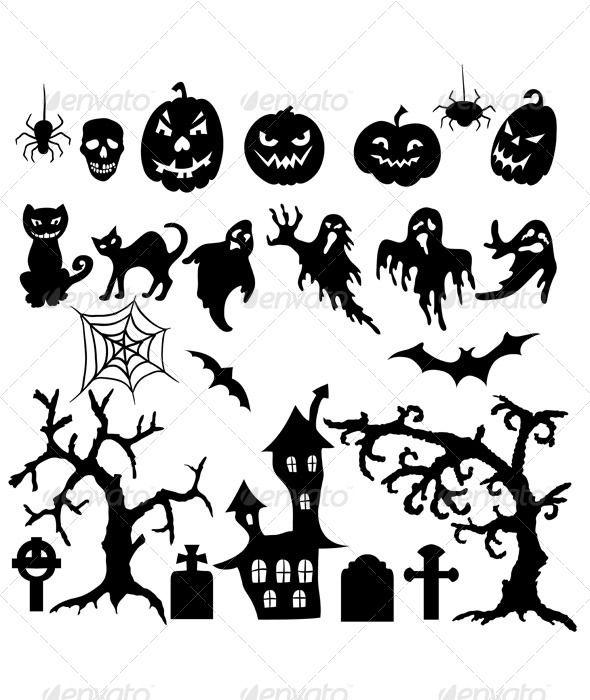 Set of Halloween Silhouettes | Bastelideen kinder, Silhouetten und ...