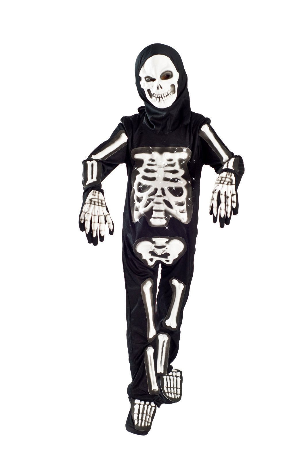 skeleton halloween costume boys light up size 5-6, 6-8 glowing fiber