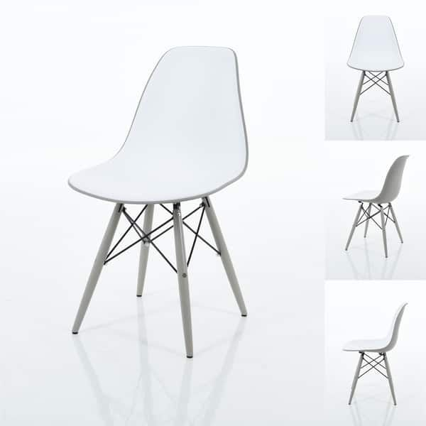 Branwen Two toned Polypropylene Dining Chairs with Wood Legs Set of