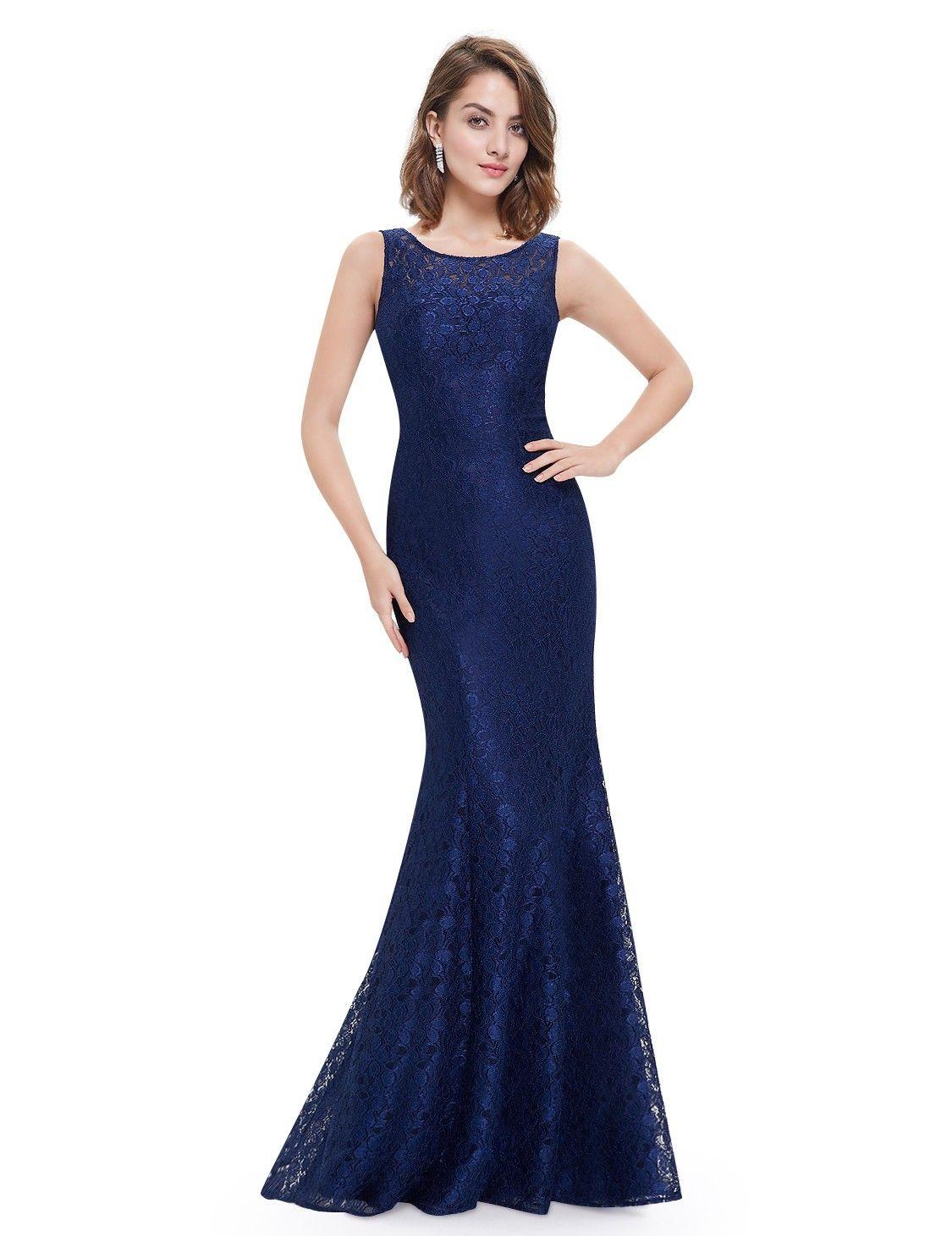 Rundhals Meerjungfrau Abendkleid Dunkelblau  Fancy dresses long
