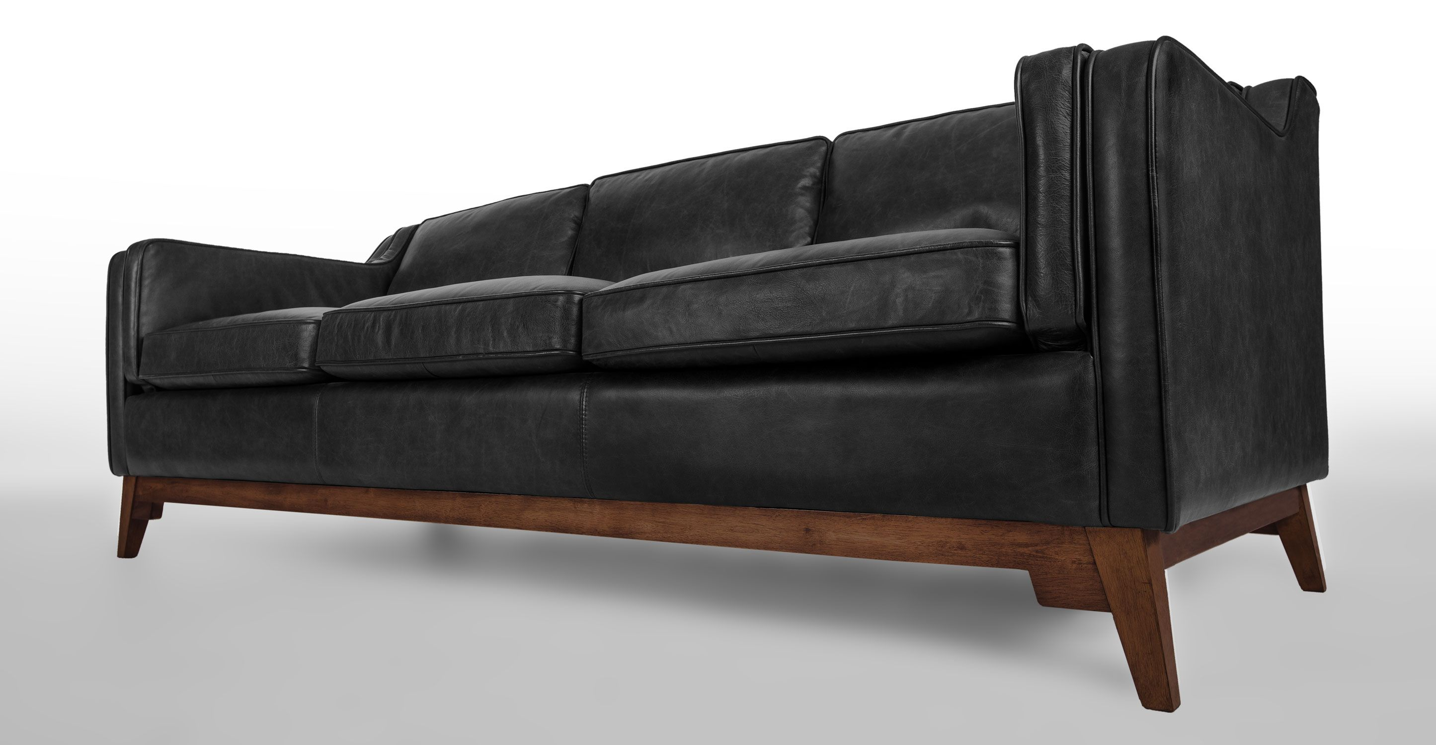 Worthington Oxford Black Sofa In 2020 Mid Century Leather Sofa