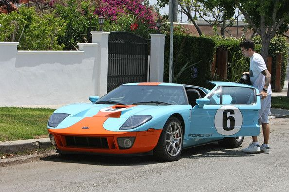 John Mayer Getting In His Baby Blue And Orange Ford Gt
