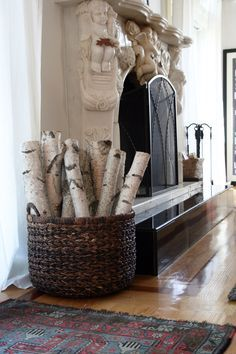 white birch fireplace ideas - Google Search | Wood Furnishings ...