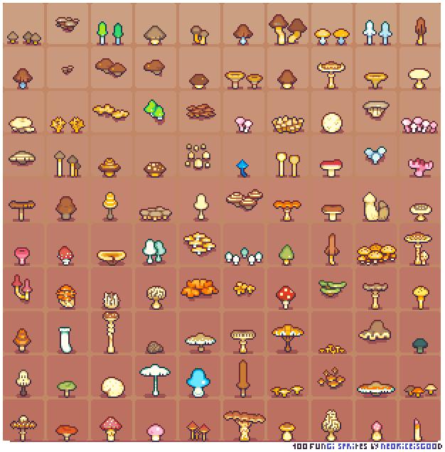 100-fungi-sprites-by-neorice By Neoriceisgood.deviantart