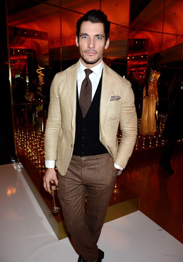 David Gandy at Dior for Harrods launch - march 14, 2013 camel, khaki, black and chocolate who knew such mixing could result in perfection ... A look to copy