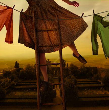 """Tom Chambers, """"Pennants Over Pienza"""" 2012, illustration"""