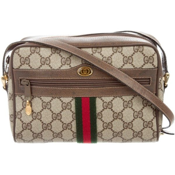 e2309c27c6f Pre-owned Gucci Vintage GG Supreme Crossbody Bag ( 445) ❤ liked on Polyvore