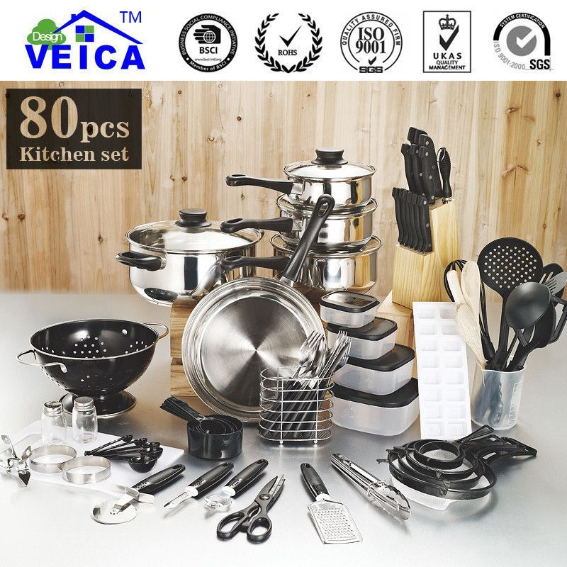 80 Piece Kitchen Starter Pots Pans And Utensils Combo Pots And Pans Sets Pots And Pans Cookware Set