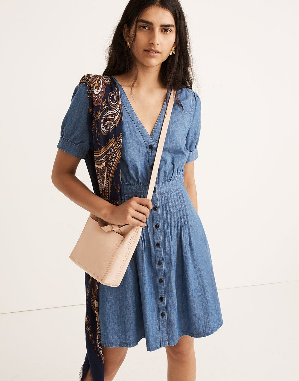 6e6df5125d madewell denim daylily dress worn with oversized paisley square scarf + the  small transport crossbody.