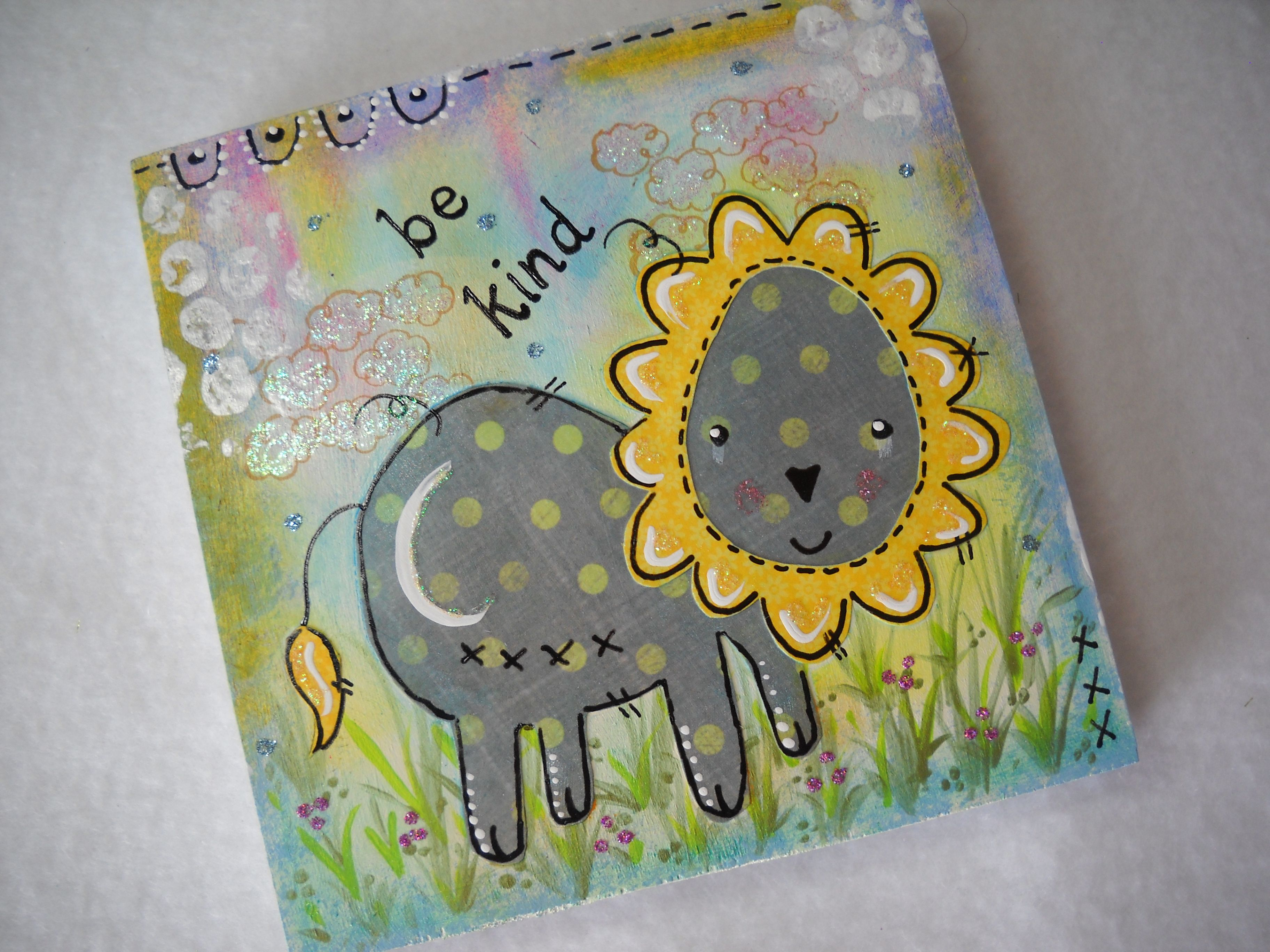 Original mixed media art baby lion kindness glittery clouds flowers