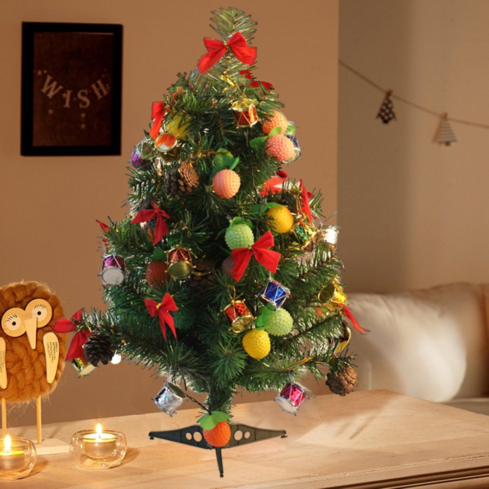 Lohome 60cm 23 6 Mini Christmas Tree Artificial Tabletop Christmas Pine Tree Prelit Tree Wit Christmas Decorations Christmas Dinner Table Mini Christmas Tree