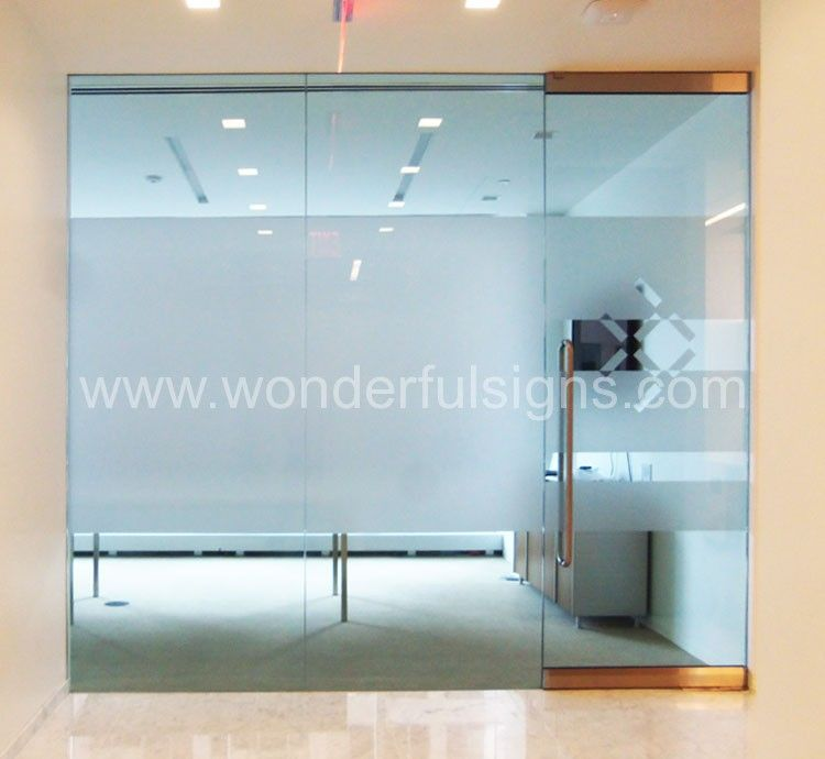Frosted decals ny sign company ada signs dimensional letters logos backlit letters - Glass office door signs ...