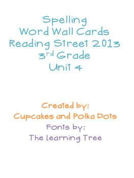 3rd Grade Reading Street Unit 4 Spelling Word Wall Cards Card ReadingColored Paper3rd