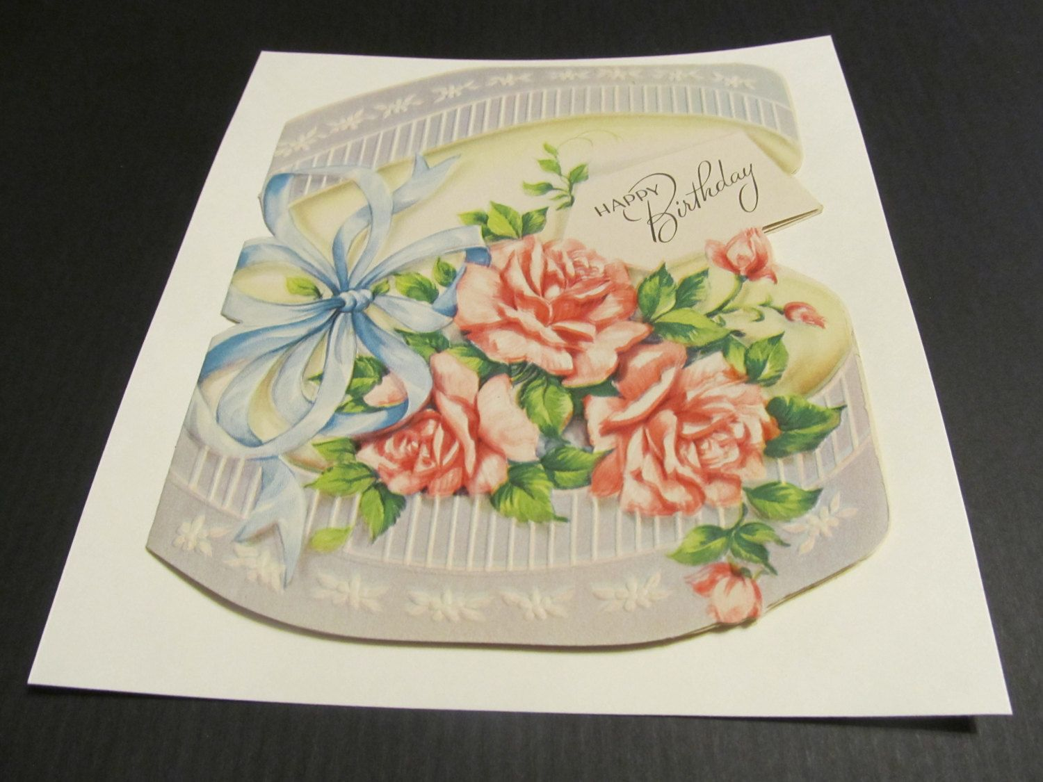 Happy Birthday Roses And Bows Pink Roses Vintage Bday Good