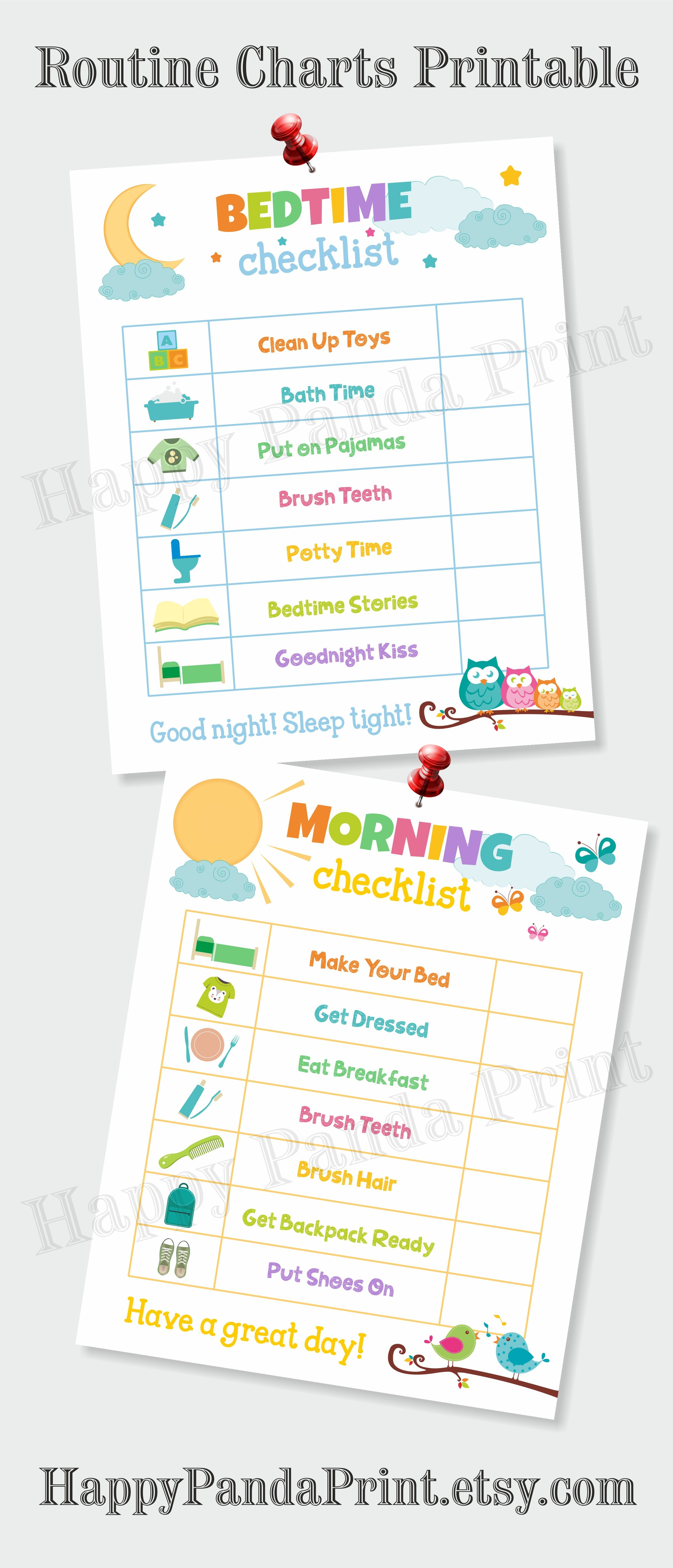 morning and bedtime checklist printable morning routine checklist