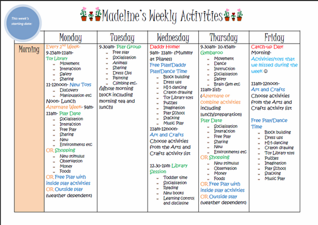 Weekly kids activity planner blank one included to make for Daily schedule template for students