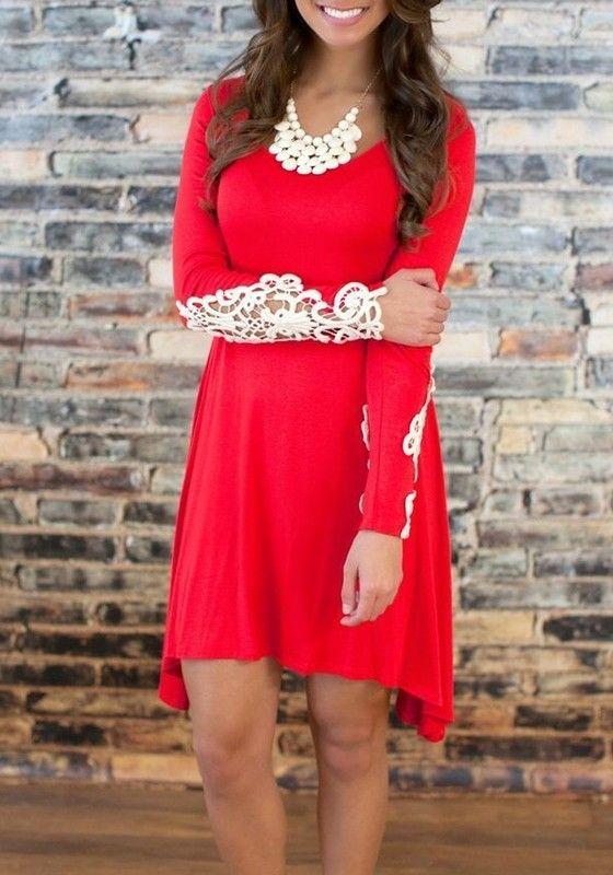 9bac45e363 Red Plain Irregular Lace Round Neck Long Sleeve Mini Dress