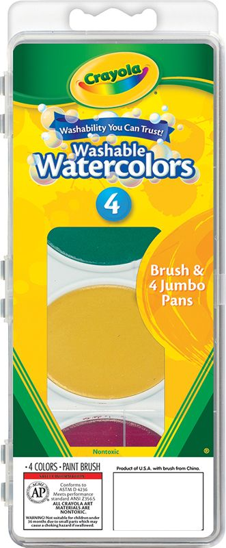 Crayola Washable Watercolor Set 4 Oval Pans And 1 Brush Crayola Watercolor Paint Set Watercolor Pans