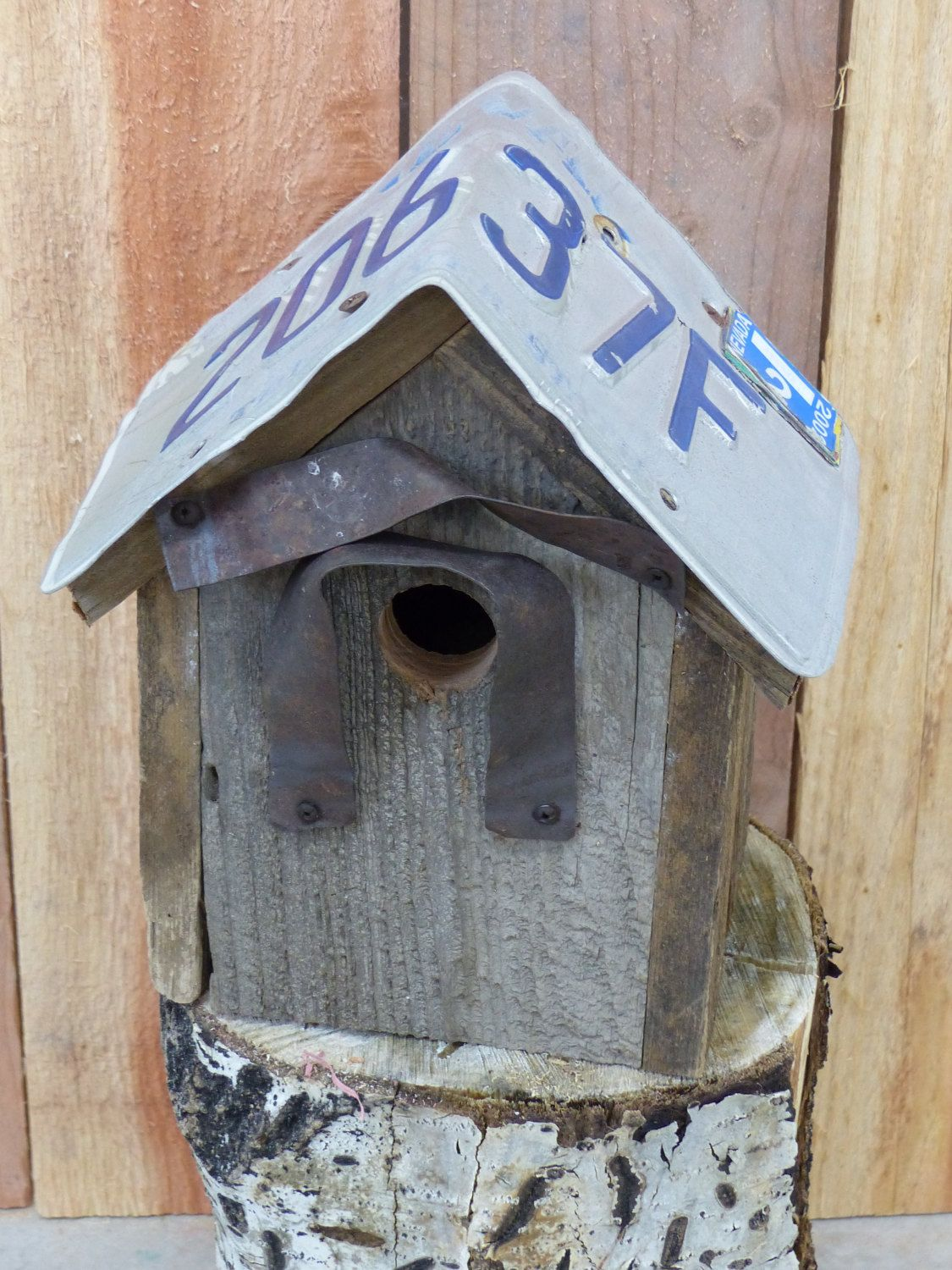 Birdhouse Handcrafted Rustic Cedar with License Plate roof by 3FeatheredFriends on Etsy