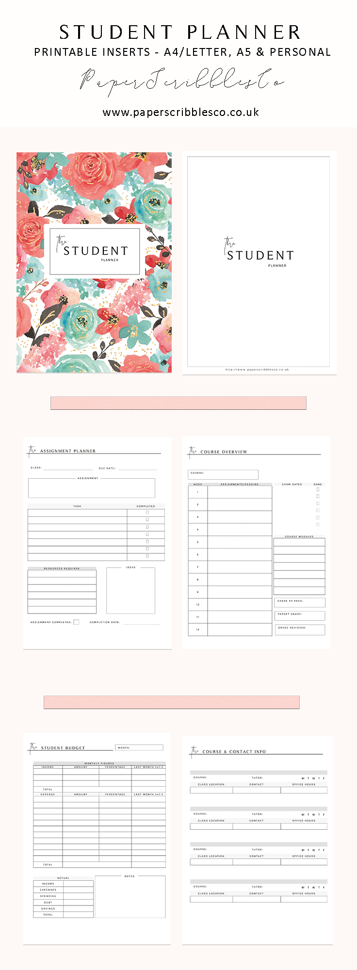 student planner school planner academic planner printable 2018