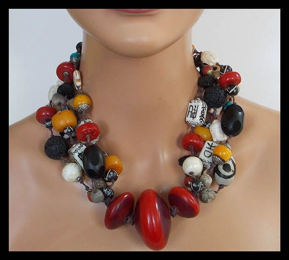 and Lava Stone Beaded Pendant Amber Resin Red Turquoise