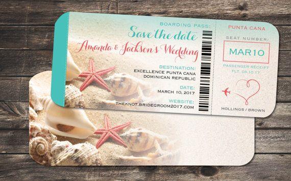 Starfish Wedding Save the Date Boarding Pass
