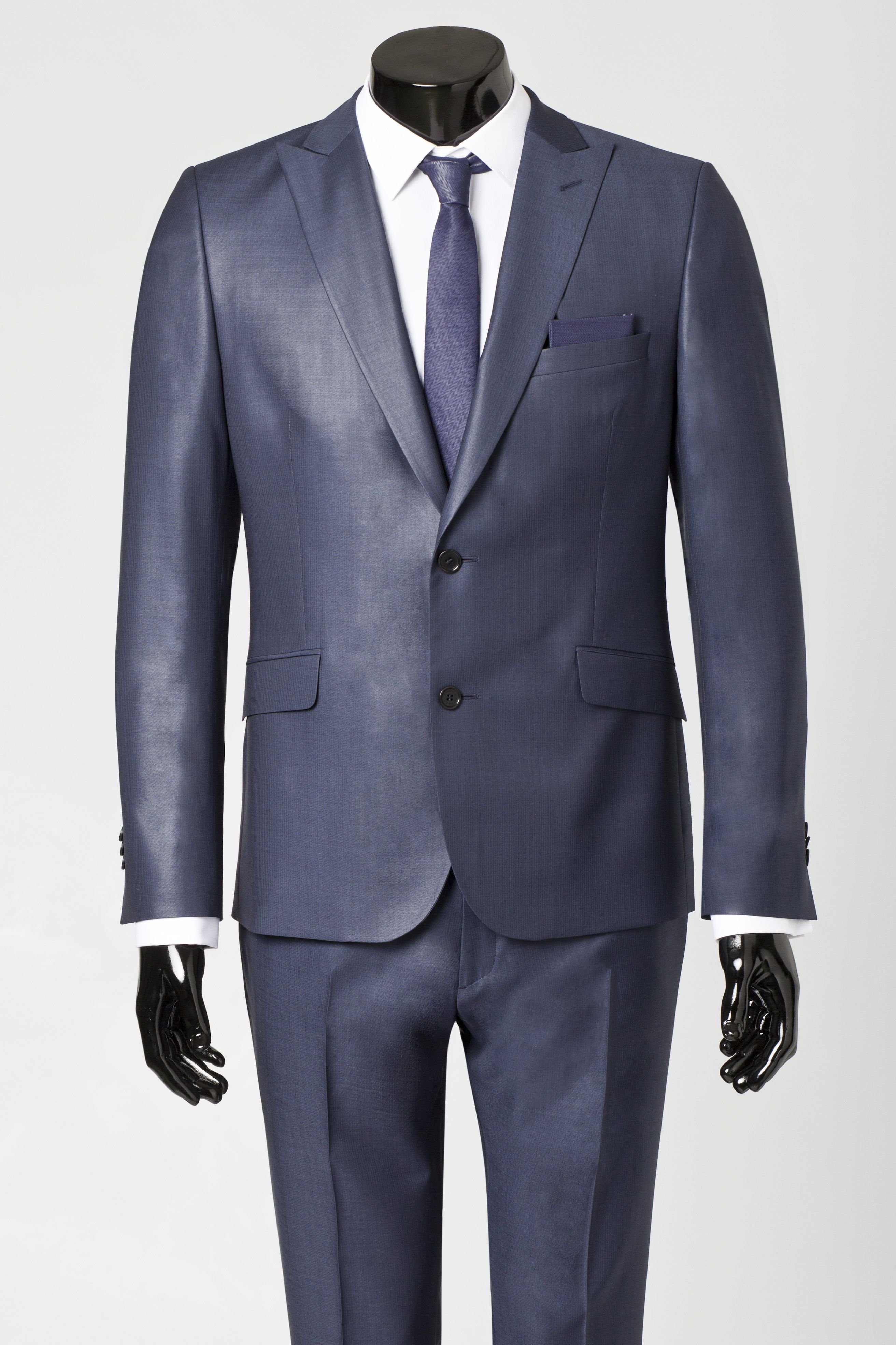 Blue grey suit with matching skinny tie and white shirt for Matching suits with shirts and ties