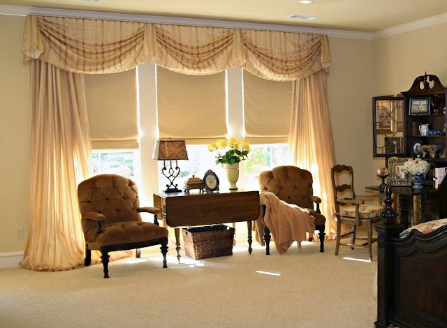 sheer and striped drapes with soft shades custom created by sally