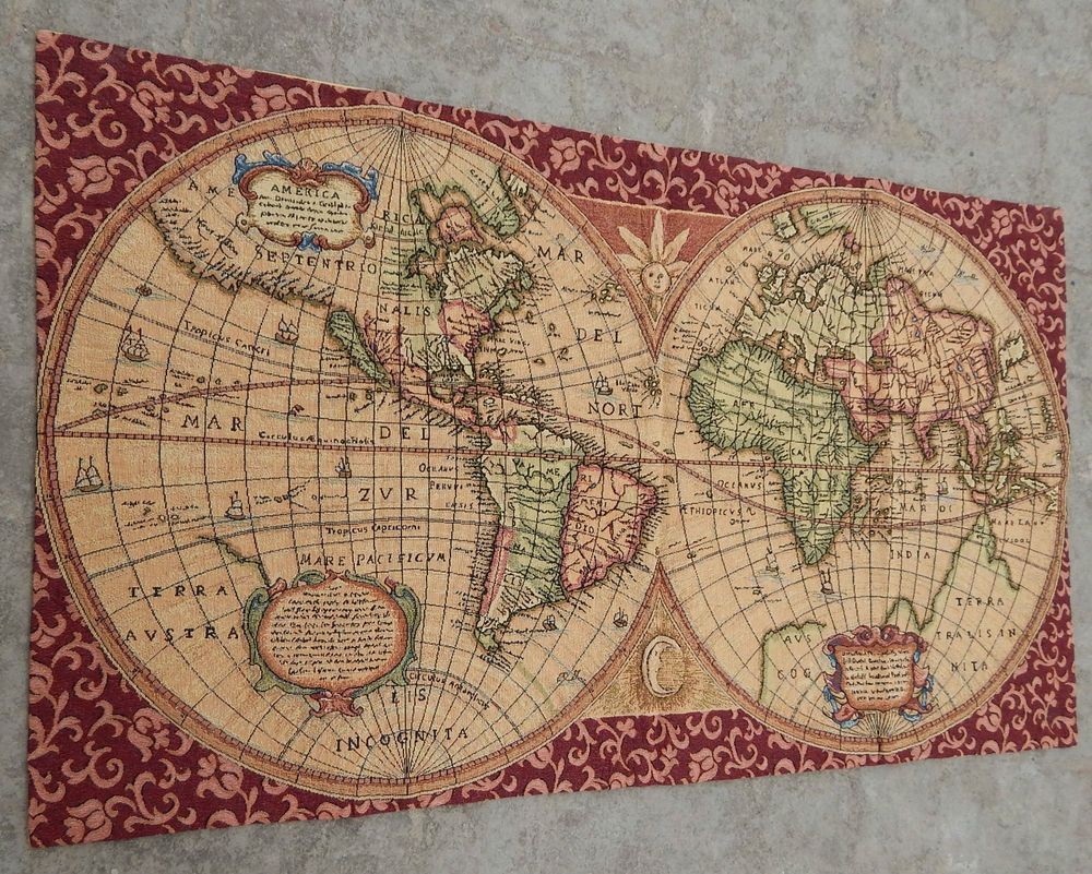 Map Of Paisley%0A Vintage French Beautiful World Map Scene Tapestry    X  cm  A