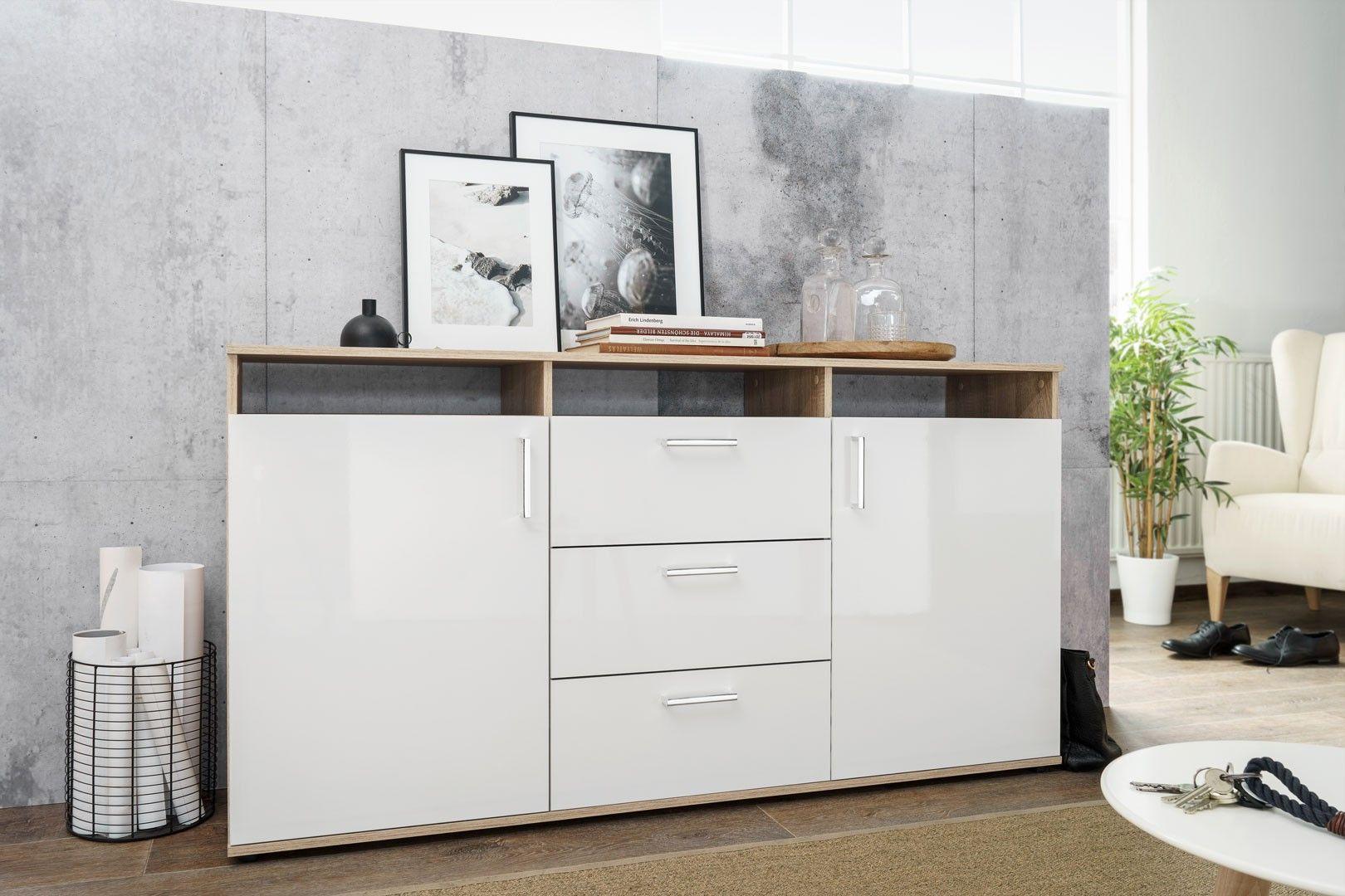 Meuble de rangement contemporain 2 portes 3 tiroirs blanc laqué