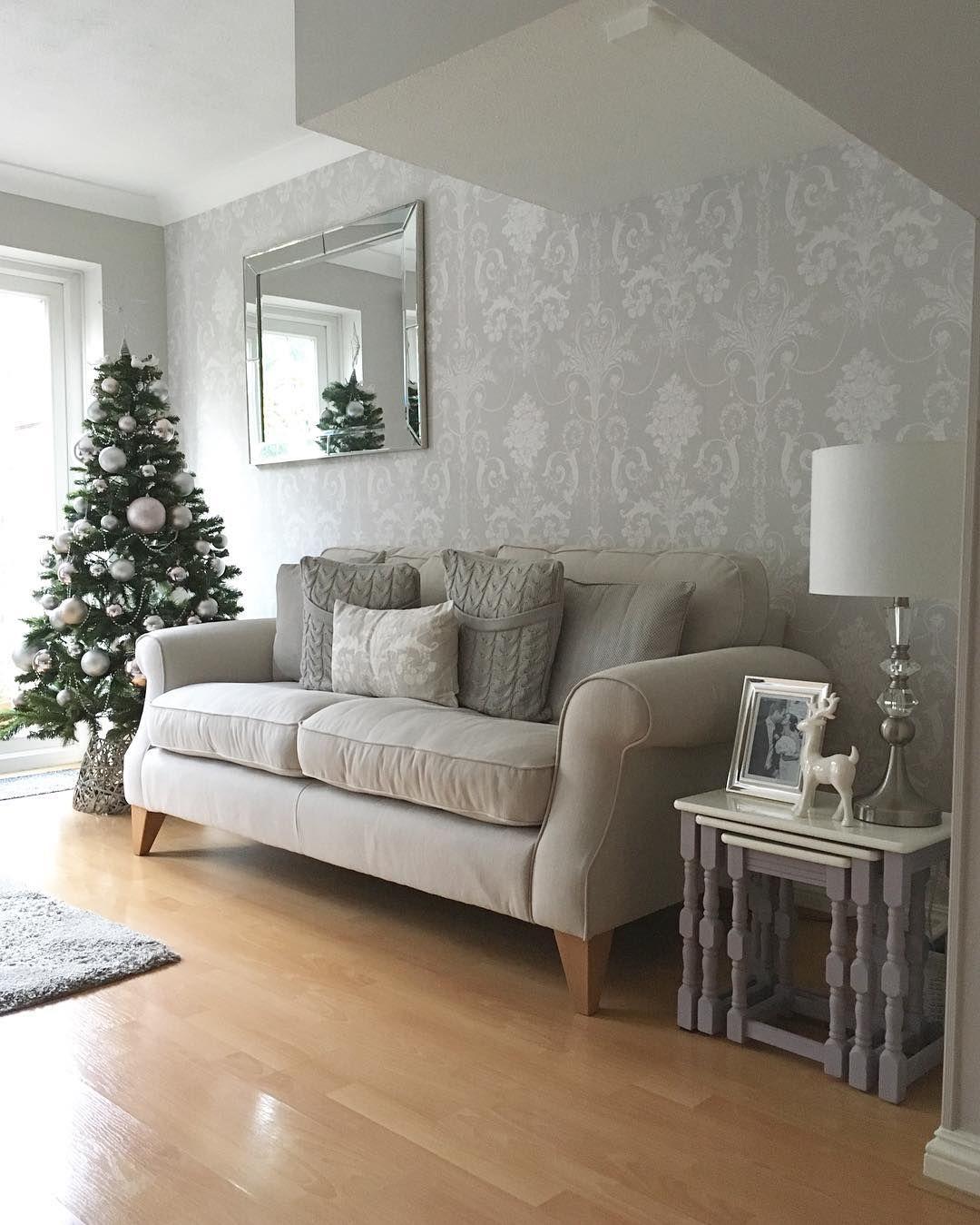 Laura Ashley Dove Grey Josette Wallpaper Christmas Decor In 2019