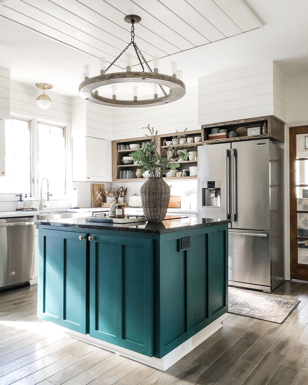 kitchen color ideas inspiration teal kitchen green kitchen island building a kitchen on kitchen ideas with island id=62477